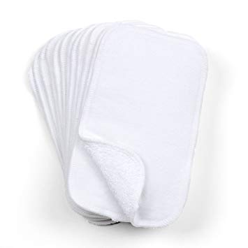 Cloth-eez Two-Sided Baby Wipes - 100% Cotton Terry and Flannel - 12 Pack