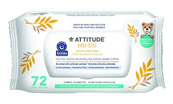 Attitude Natural Baby Wipes, Fragrance Free, 72 Count