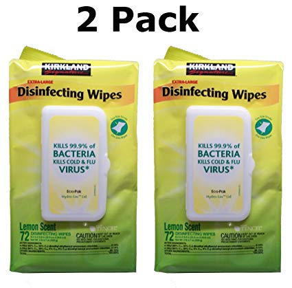 Kirkland Signature Disinfecting Household Surface Wipe Eco-Paks, (2 Pack) (Lemon Scent)