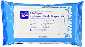 Nice 'N Clean Baby Wipes with Aloe, Travel Pak, Unscented, Hypoallergenic, 40 Wipes