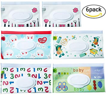 Reusable Wet Wipe Pouch [Set of 6] - Dispenser for Baby Or Personal Wipes - Wet Wipe Portable Travel Cases...