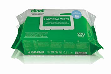 Clinell Antibacterial Wipes - Pack of 200