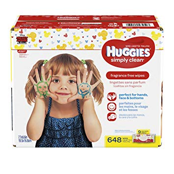 HUGGIES Simply Clean Fragrance Free Baby Wipes, Pack of 9 Soft Packs (72 Wipes per Pack, 648 Count...