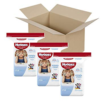 Huggies Simply Clean Baby Wipes, Unscented, Refill (Packaging May Vary), 216 Count (Pack of 3)