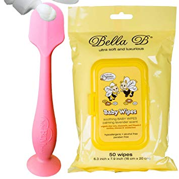 Bundle - BabyBum Diaper Cream Brush and Bella B Baby Wipes - Pink