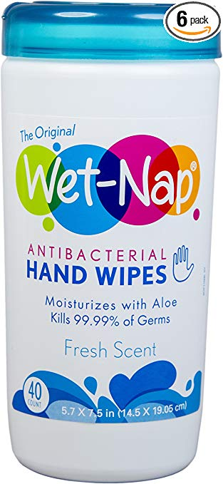 Wet-Nap The Original Anti-Bacterial Wipes Cannister, Fresh, 40 Count (Pack of 6)