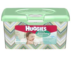 HUGGIES Naturally Refreshing Cucumber & Green Tea Baby Wipes, 64-Count Popup Tub (Pack of 8) Product Shot